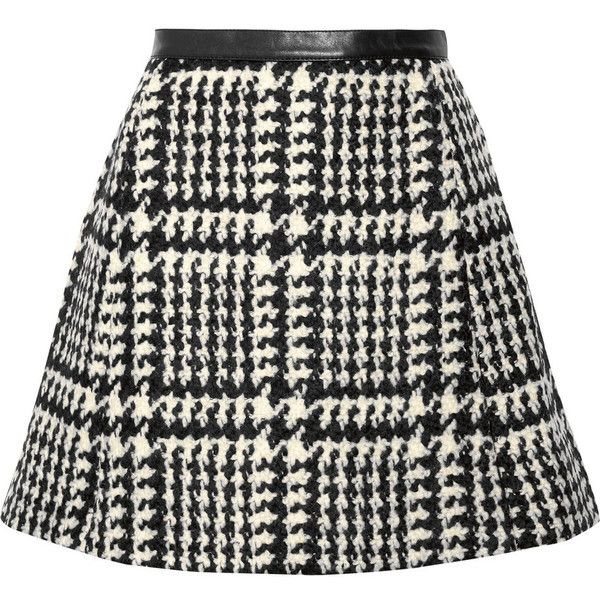 Jill Stuart Crystal leather-trimmed wool-blend bouclé-tweed mini skirt found on Polyvore featuring skirts, mini skirts, bottoms, saias, black, short mini skirts, black tweed skirt, wool blend skirt, short skirts and black miniskirt