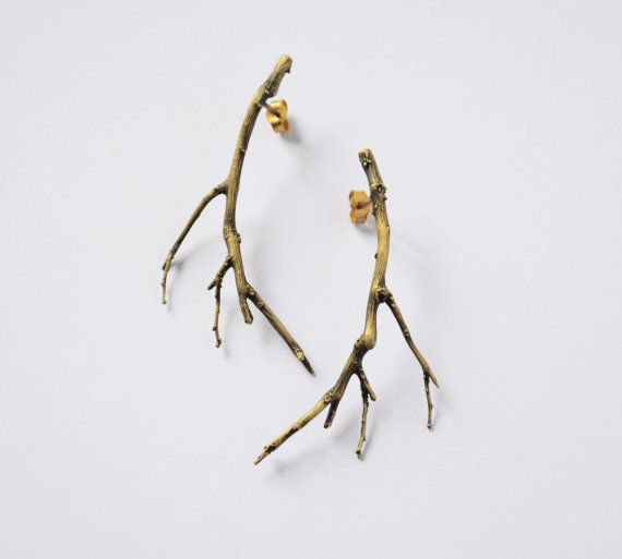 branch jewelry bronze twig earrings - branch earrings - gold plated ear studs