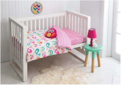 The Pretty Birdie nursery bed cover pack and scatter cushion is one the designs in the new 'Esk' manchester range created exclusively for Fantastic Furniture by KAS Australia. Price $69.