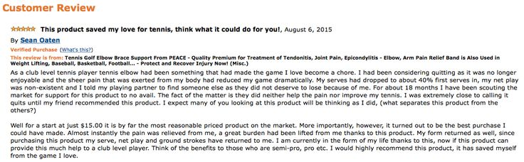 Review shows how awesome this product is. The best tennis elbow brace on the market! Company is about to make a difference!