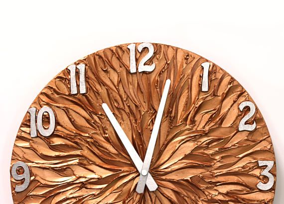 #copper #clock #interior #home #decor Large wall clock COPPER WALL CLOCK copper and silver original