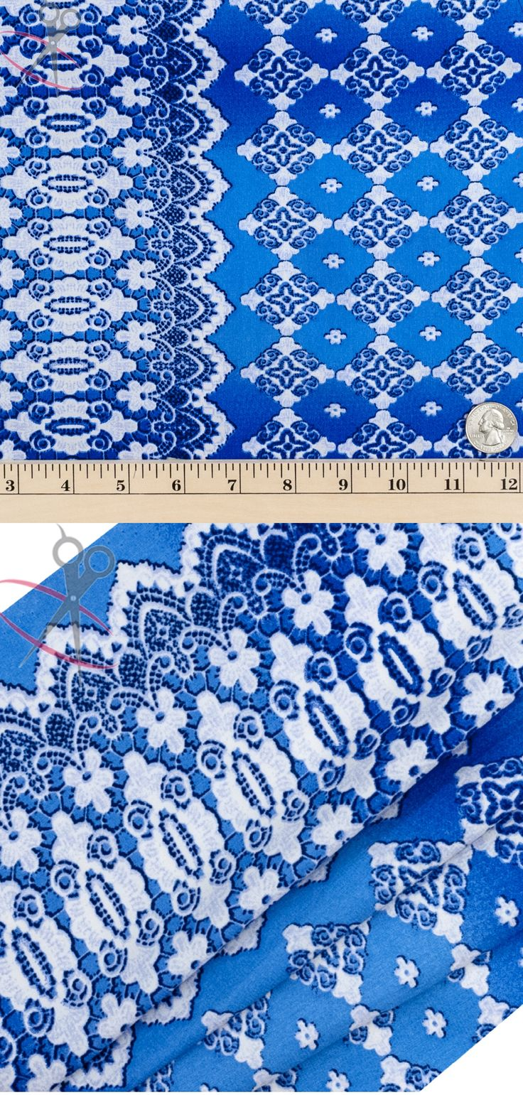This print is bordered on both sides by a thick Off White Fleur de Lis design. In between these eloquent borders is a lattice quatrefoil pattern. The designs are made with a Off White & Dark Royal, and are on top of a Royal Blue Peach Skin background.