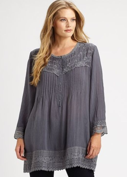Johnny Was Plus Size Lace Embellished Top... I want this!!!!