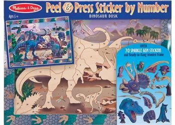 Melissa & Doug Peel and Press Dinosaur Young archeologists can piece together the prehistoric past with this thrilling sticker-by-number arts-and-crafts kit! Over 75 stickers transform the sturdy wooden frame into a portal to the past:  $25.95 and in stock. For more information follow this link http://www.shellstreasures.com.au/#!product/prd1/1215324241/melissa-%26-doug-peel-and-press-dinosaur