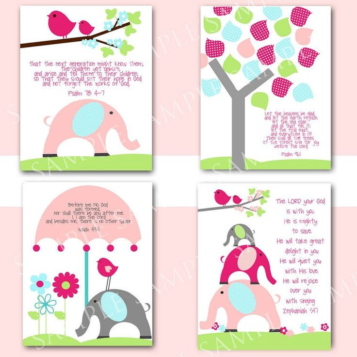 Nursery wall art with bible verses girl birds elephants for Bible verses for kids rooms