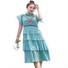 2017 summer dress chiffon bolo em camadas ruffles vestidos de manga curta estilo coreano do vintage plissada lantejoulas curto vestidos de festa(China (Mainland))