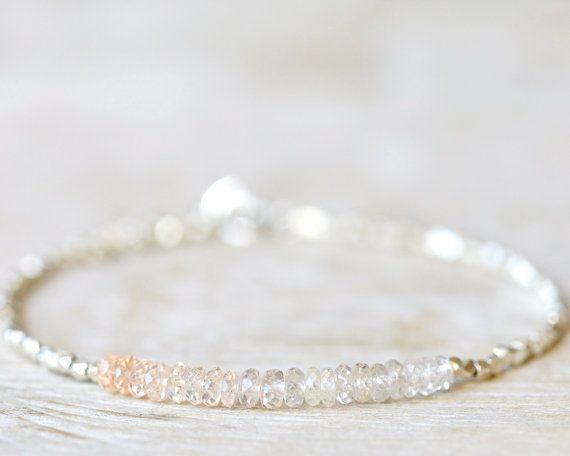 Peach+sapphire+bracelet+September+birthstone+jewelry+by+Filoe,+$45.00