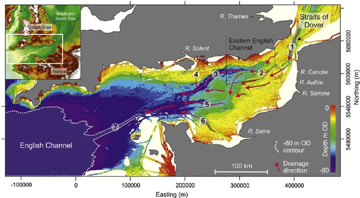 Fig. 1. Sea bed bathymetry of the English Channel continental shelf. Inset map shows merged bathymetric and topographic data for Northwest Europe (Bathymetry: The GEBCO_08 Grid, version 20091120, . Digital elevation data: SRTM (Jarvis et al., 2008) available from ). Bathymetry source for the main map is Olex, used with permission of Olex AS. Depths are relative to UK mean sea-level (OD).