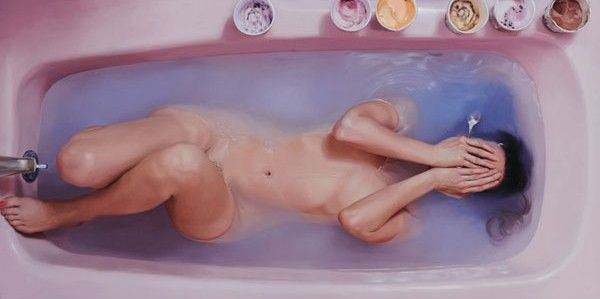 """Lee Price : oil on canvas . . . Growing up in America, women are taught that sweets and junk food are """"guilty pleasures,"""" a source of shame and an emblem of weakness. Lee Price's hyper realistic paintings of women (mostly herself) eating in secret explore the disgust and shame attached to food for women in America."""