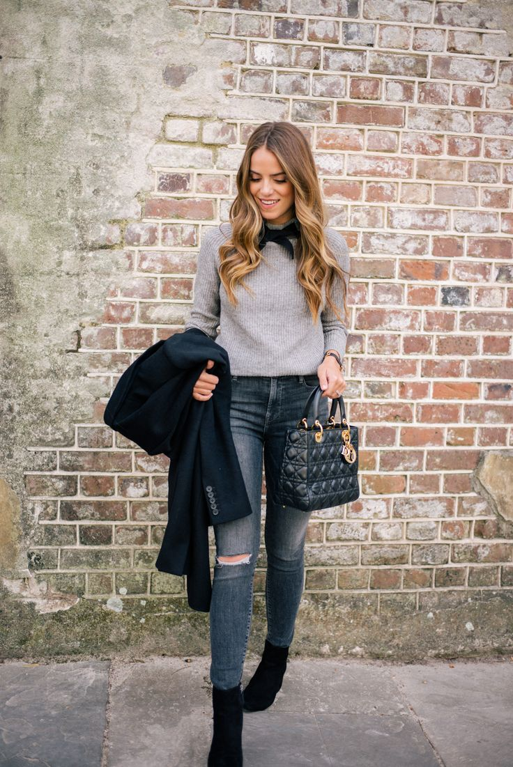 Gal Meets Glam Bow Sweater & Classic Black Coat - Joseph coat, J.Crew sweater, Frame jeans, Halogen booties, Dior Bag & Hermes watch