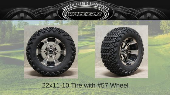 Set of (4) 22x11-10 Offroad Golf Cart Tires with Aluminum Wheels