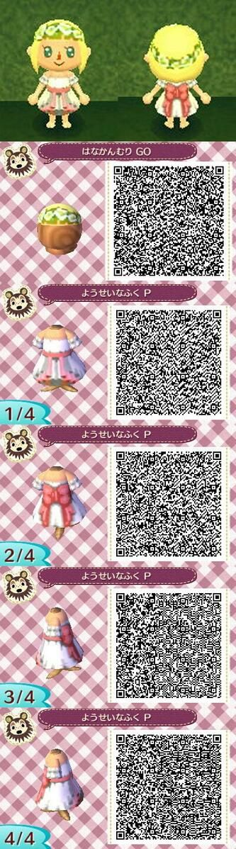 New Leaf QR Codes - ruffled white pink dress w/ flower crown animal crossing