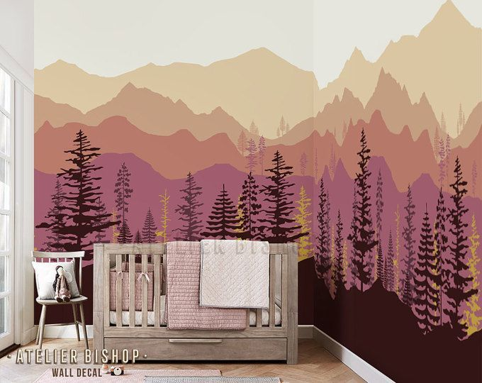 Peel And Stick Ombre Mountain Pine Trees Forest Scenery Nature Etsy Click Here To Download Peel And Stick Omb Ombre Mountains Tree Wallpaper Mountain Mural