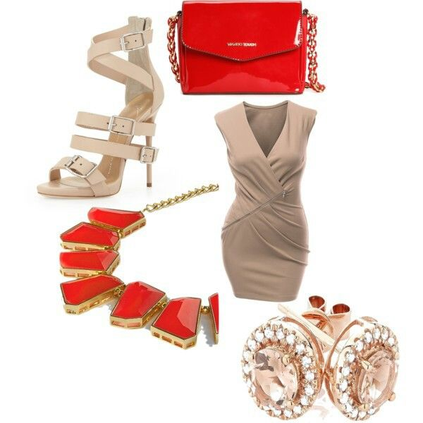 Beige and red,a perfect match Giuseppe Zanotti sandal Mango bag Necklace Earrings