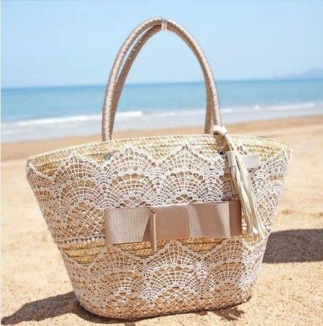 Handmade straw  beach bags fashion beach handbags wheat  straw beach tote bag free shipping $24.50