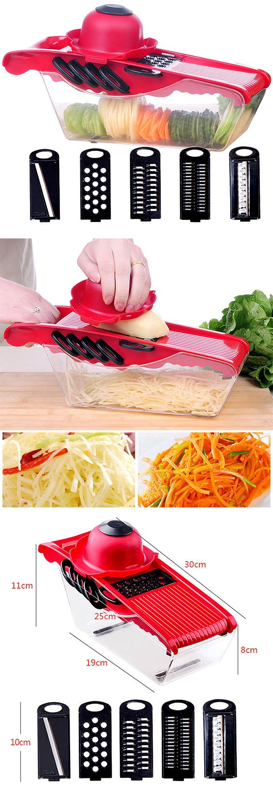 - 5 interchangeable blades are made from stainless steel which can durable to use and you can use them to chop various vegetable or fruits  - A hand guard can prevent you hurting when you chop vegetable or fruits - A transparent container can keep the vegetable or fruits clean  - Using it can help you save more time when you are cooking