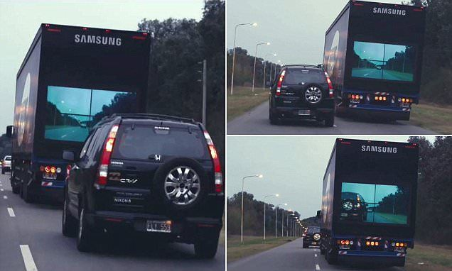 Samsung's Safety Trucks let drivers see when it's safe to pass on road - http://www.americanindrive.com/samsung-safety-truck/
