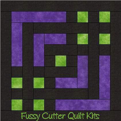 Carpenter's Square Easy Pre-Cut Quilt Kit Purple Green Black Fabrics