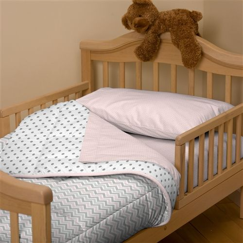 Pink and Gray Chevron Toddler Comforter - I want this for a double bed!