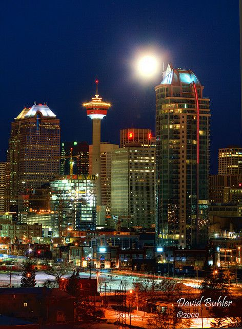 Calgary Early Morning with Moon Setting (Canada) by Buhlers World, via Flickr