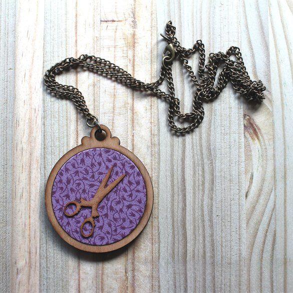 Kosbaar | Pendant Necklace| Timber & fabric inlay | Purple filigree fabric…