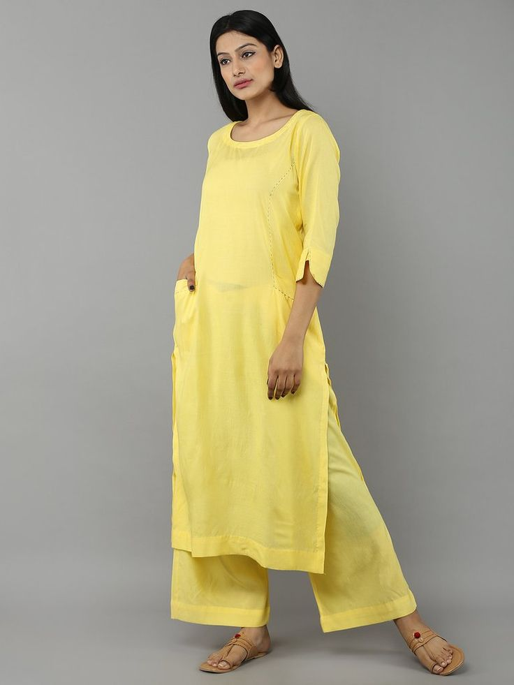 Yellow Khadi Cotton Straight Kurta
