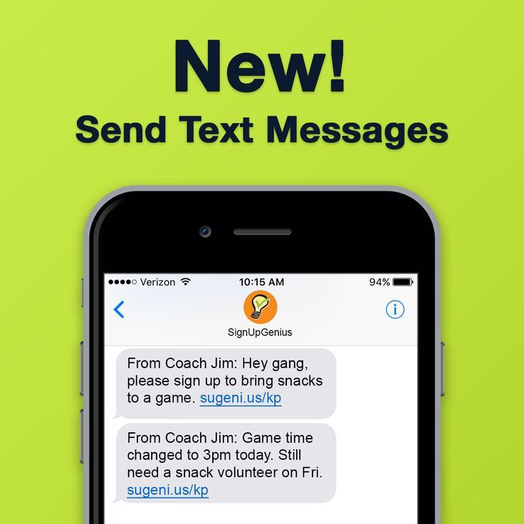 New: Introducing Text Messaging for Sign Up Communication. Improve your online sign ups by sharing your link via text message or updating your group with new information.