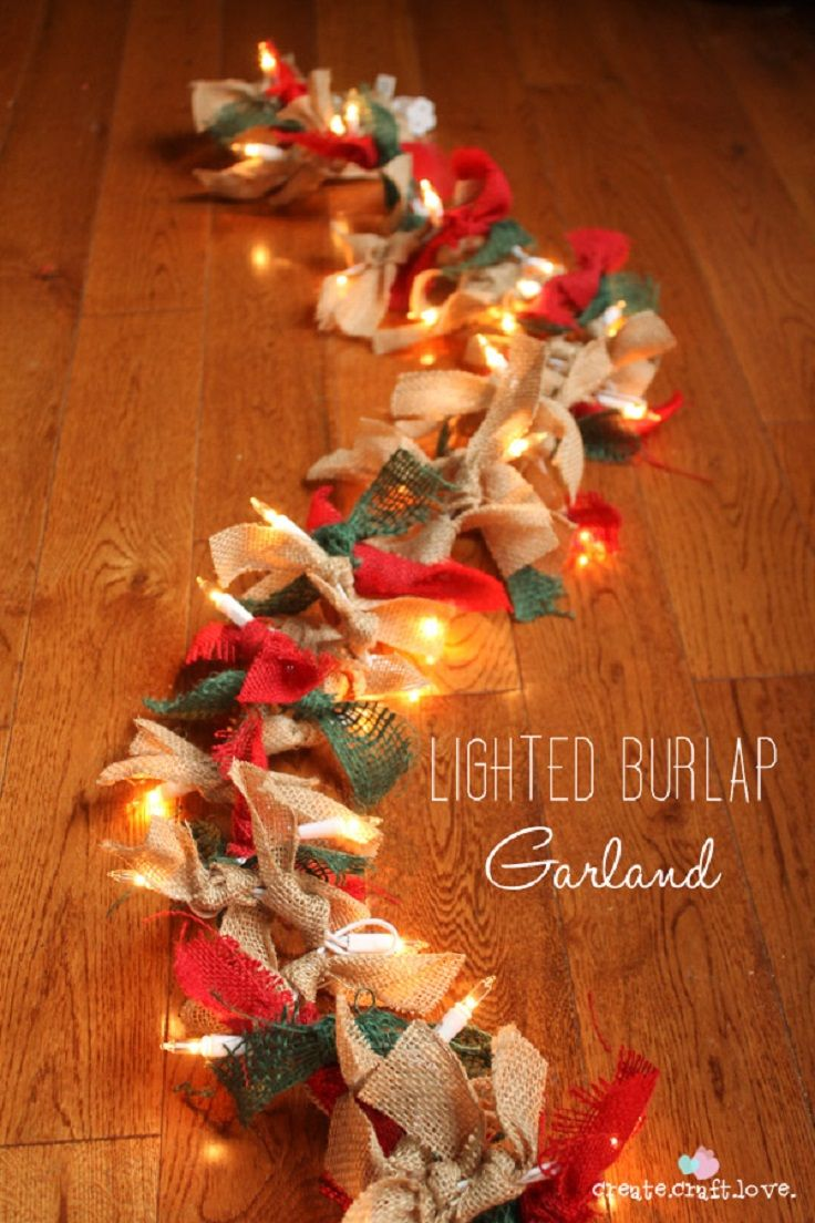 For the Table Top... maybe use wreath battery christmas light and different christmas fabric: