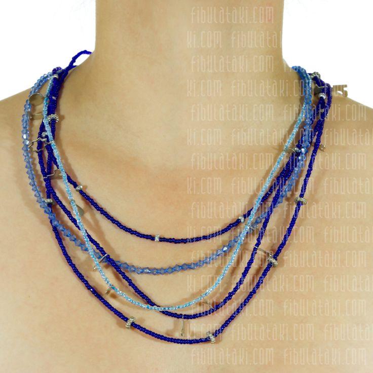 Fibula Takı - Salkım Saçak Serisi / Kolye - boncuk - metal - mavi