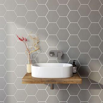 Hex grey matt tile 175mm x 202mm