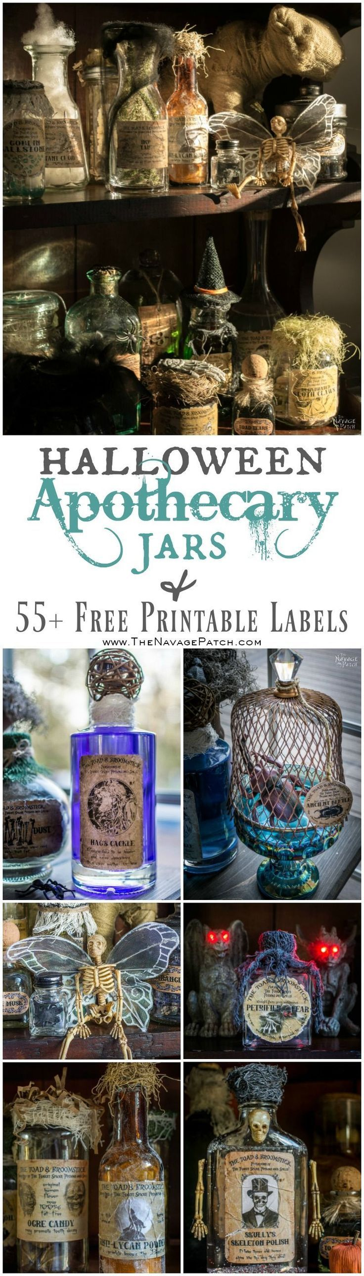 Halloween Apothecary Jars {and Free Printable Labels} | DIY Halloween decor | Harry Potter theme | Free Halloween printable with over 55 jar labels in two sizes | Potions and spells | DIY Apothecary jars decor | DIY Halloween prop | Spooky and fun witches kitchen | Grimm - Rosalee's spice shop | TheNavagePatch.com