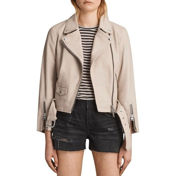 Allsaints Cole Leather Biker Jacket (8.813.290 IDR) ❤ liked on Polyvore featuring outerwear, jackets, sand brown, pink motorcycle jacket, motorcycle jacket, moto jackets, genuine leather jackets and real leather jackets