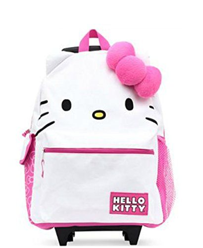 Hello Kitty Girls Rolling Backpack with Plush Bow >>> Click image for more details.