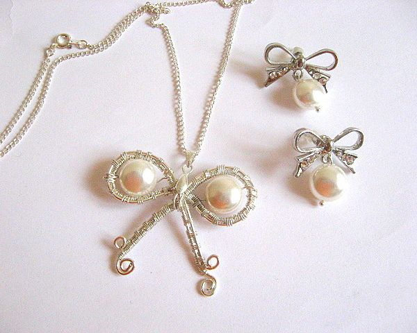 Set mireasa colier si cercei cu perle Mallorca - set nunta mirese