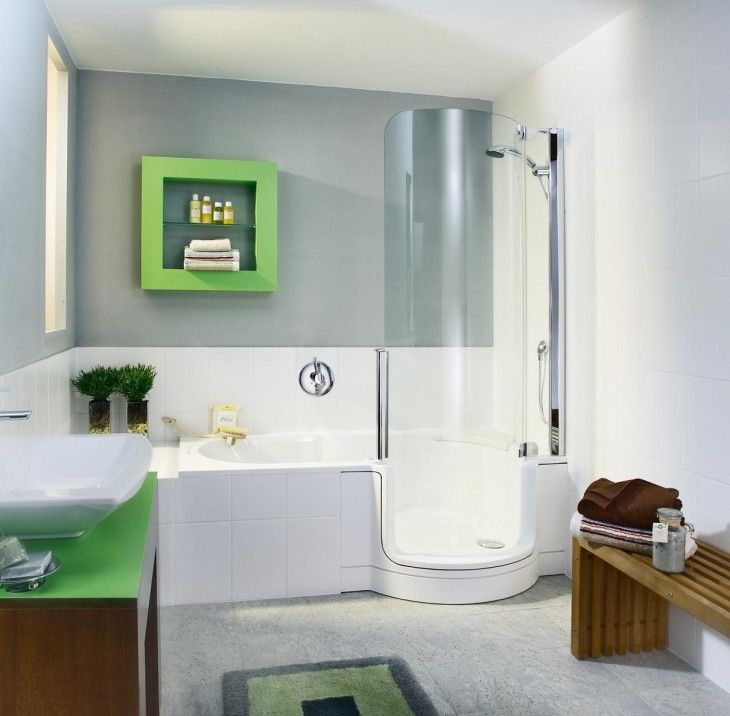 Bathroom Bathroom Interior With Corner Shower And Glass Enclosure And White Bathtub And Green Floating Shelf - pictures, photos, images