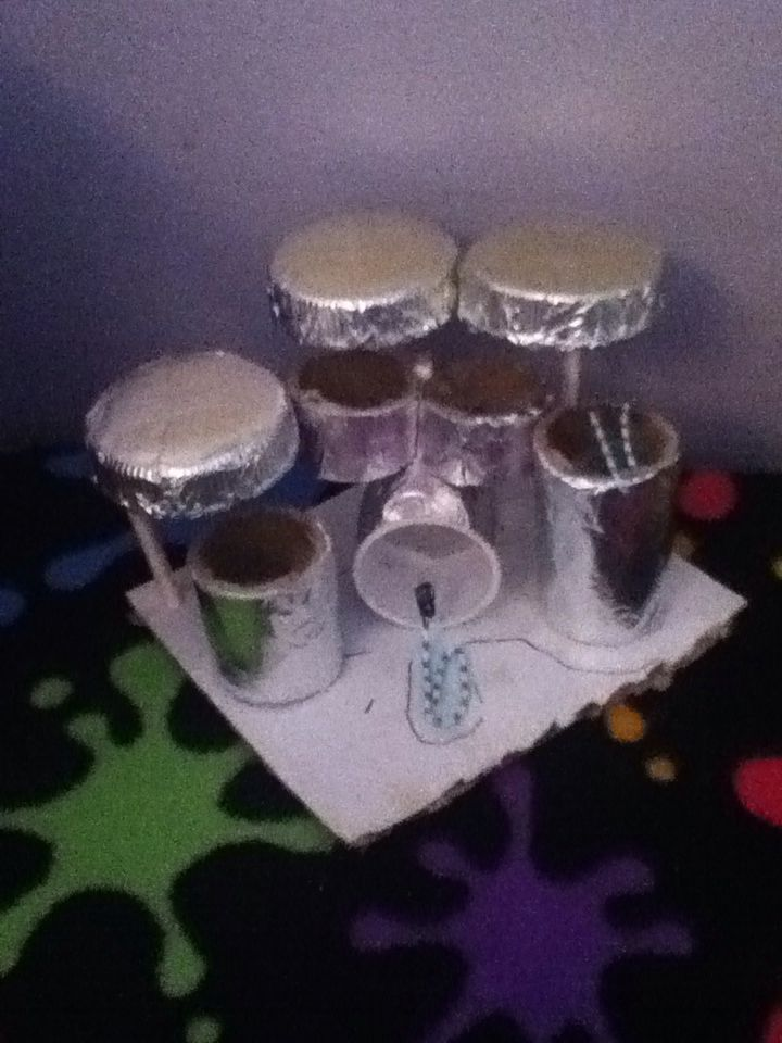 Lol I got bored and made a mini drumset XD