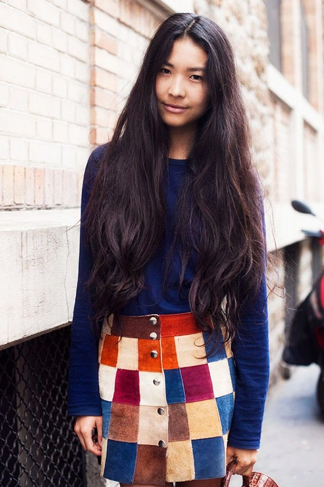 Kamilya Kuspan in the coolest '70s-inspired patchwork button-front skirt