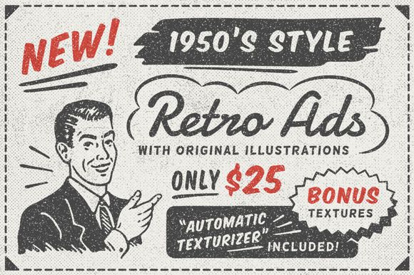 1950s Style Retro Ad Templates • Available here → https://creativemarket.com/DISTRICT62/397927-1950s-Style-Retro-Ad-Templates?u=pxcr