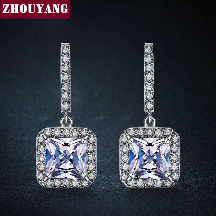Classic Design White Gold Plated Silver Color Cushion Cut Big CZ Wedding Party Gift Drop Earrings for Women ZYE837