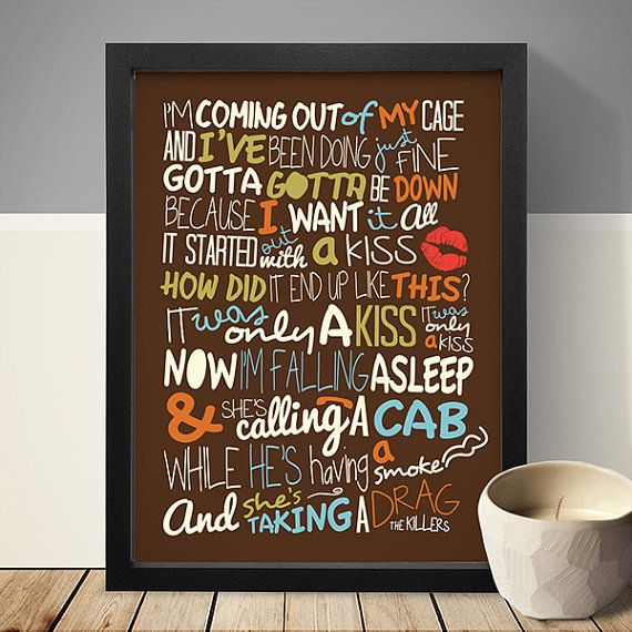 The Killers - Mr Brightside / Song Lyric Typography Poster, Lyrics Poster, Music Poster