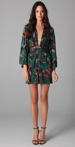 issa long sleeve print kimono dress