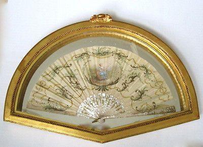 Старинная плечо роспись луи французский шелк вентилятор в золоченой оправе | eBay