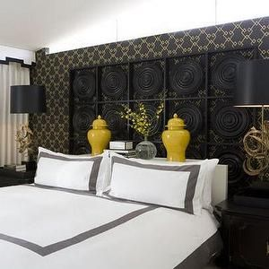 bedrooms - yellow, ginger jars, black panel, headboard, ornate, brass, lamps, black, silk, shades, folding screen, white, black, cornice, box, Asian, black, nightstands, white, yellow, gray, black, bedroom, black and yellow bedroom, black and yellow bedroom ideas, black white and yellow bedroom, black white and yellow bedroom ideas,