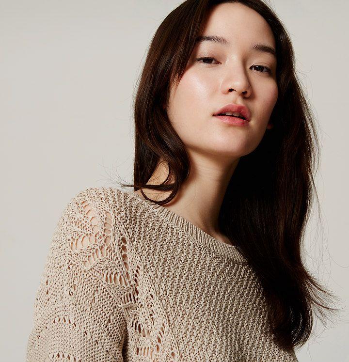 Mixed Pointelle Sweater | Loft