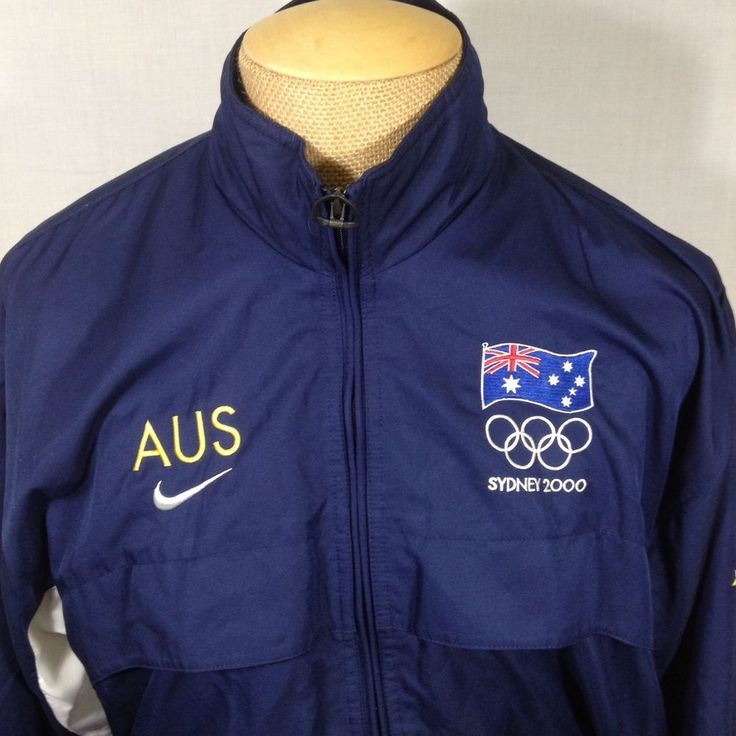 Nike Olympic Team Australia Jacket Sydney 2000 Games Full Zip Blue Large Winter  #Nike #Australia