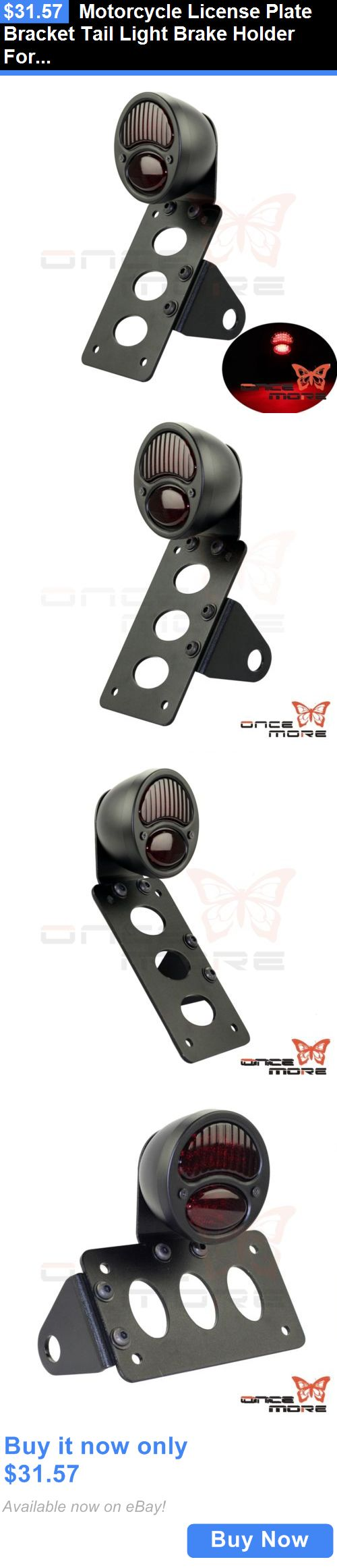 motorcycle parts: Motorcycle License Plate Bracket Tail Light Brake Holder For Harley Custom BUY IT NOW ONLY: $31.57