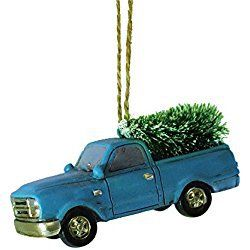 Blue Truck Hauling Christmas Tree Ornament