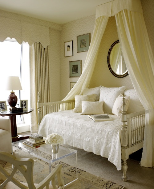 nice calm neutral daybed with fabric crown