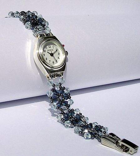 2 for 1 !!!  Not only do you get a beautiful crystal bracelet, but also you get an attractive electronic timepiece. This item made with Swarovski Crystal Montana, Light Azore and high quality seed beads.  If you like this item you can find in my website en.dawanda.com/shop/akcrystalbead