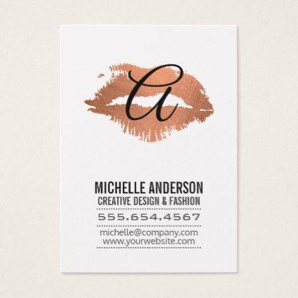 Script Monogram / Expressive Kiss Business Card - stylist business card business cards cyo stylists customize personalize